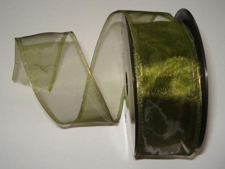 Šifónová stuha s drôtom 40mm - tmavá zelená